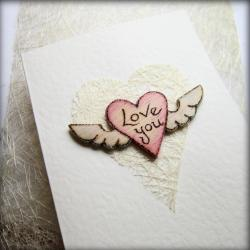 White Heart Card ~ Wooden winged 'Love You'